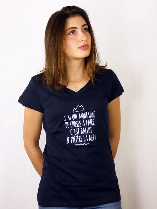 T shirt femme humour drôle rigolo  montagne mer manche courte bleu marine col V France