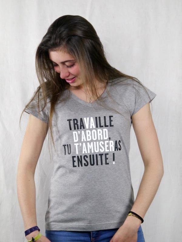 T shirt femme humour drôle rigolo avec jeux de mots de Vincent Perrottet manche courte gris col V France