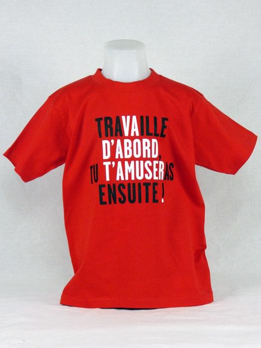 T shirt enfant  humour drôle rigolo avec jeux de mots de Vincent Perrottet manche courte rouge France