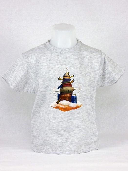 T shirt enfant  graphisme original de Bruno Théry l'observatoire dans les nuages manche courte Blanc chiné France