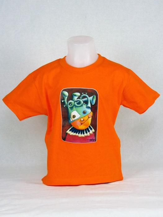 T shirt enfant  graphisme original de Bruno Théry l'enfant piano manche courte orange France