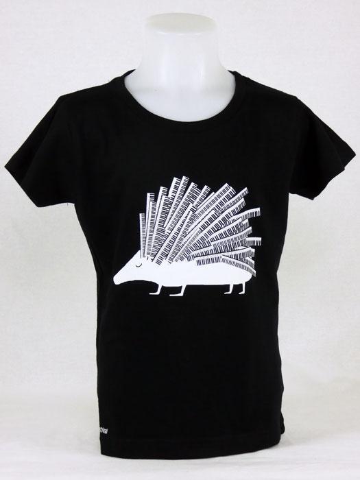 T shirt enfant  graphisme original Hérisson de Mathieu Desailly bel-air claviers festival  manche courte noir France