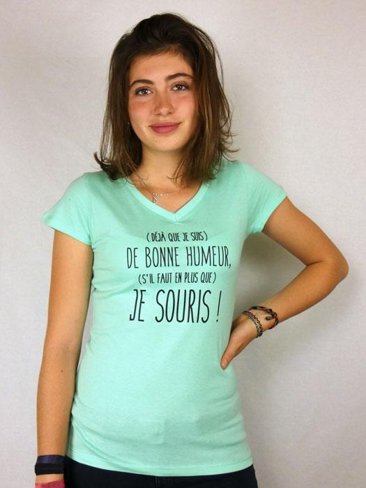 T shirt femme humour drôle rigolo avec jeux de mots manche courte vert menthe col V france