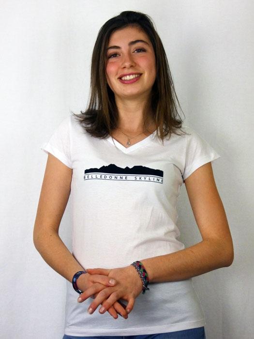 T shirt femme montagne Belledonne  graphisme original manche courte blanc col V France