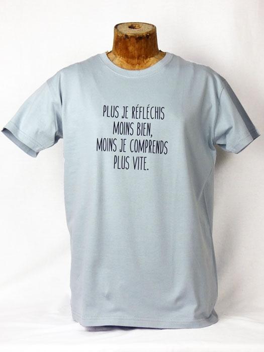 T shirt homme humour drôle rigolo avec jeux de mots réfléchir manche courte bleu glacier  France