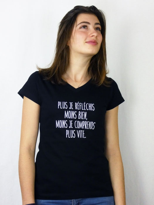 T shirt femme humour drôle rigolo  manche courte noir col V France