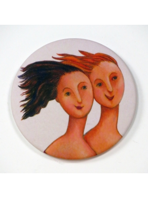 Miroir de poche - Deux filles