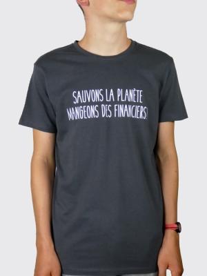 Tee-shirt Bio Homme - Sauvons la planète, mangeons des financiers !