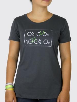 Tee-shirt Bio Femme - Vélo 0% dioxyde de carbone, 100% Oxygène