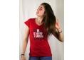 T shirt femme graphisme original de Vincent Perrottet travaille manche courte rouge col V France