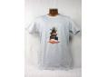 T shirt homme graphisme original de Bruno Théry l'observatoire dans les nuages manche courte blanc chiné France