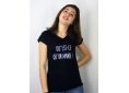 T shirt femme humour drôle rigolo  mange manche courte noir col V France