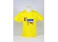 T shirt enfant  graphisme original vache clin d'œil à Mondrian manche courte jaune France